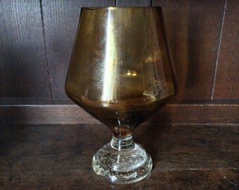 Vintage English Beautiful Large Brown Glass Stylish Retro Mid Century Cognac Glass Shaped Vase circa 1950-60's / English Shop
