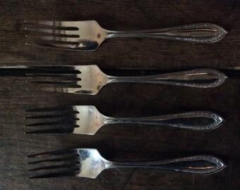 Vintage English 4 Sheffield Cake Forks Cutlery circa 1950's / English Shop