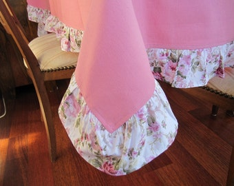 pink floral ruffled tablecloth -Shabby chic home decor- Duck linen pink table cloth-round-rectangle custom tablecloth-dining-entartining