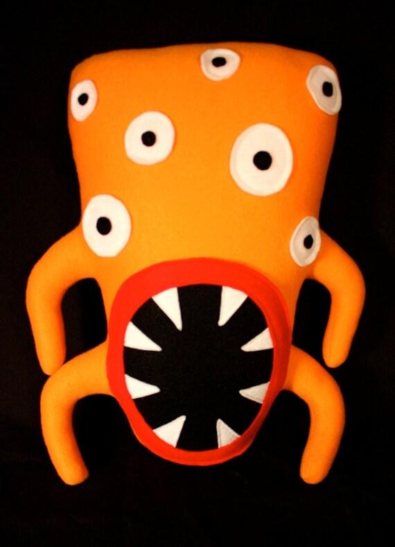 Sheldon the Four Armed Crazy Eyed Orange Plush Monster