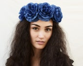 Blue Rose Crown, Blue Flower Crown, Blue Rose Headband, Navy Blue, Floral Crown, Blue Rose, Bohemian, Boho