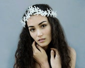New Year's Eve Crown - Winter White, White Leaf Crown, White headpiece, Crown, Woodland Fairy Crown, Winter Goddess, Ice Crown, Ice, Crown