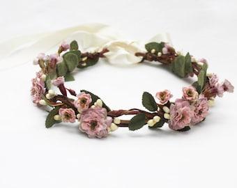 Bridal Flower Crown, Dusty Pink Flower Crown, Flower Girl Flower Crown, Bush Pink, Hair Wreath, Flower Girl Headpiece, Bridal Headpiece,