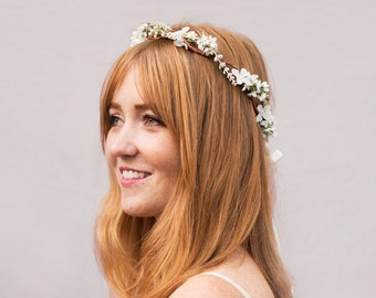 Ivory Wedding Flower Headpiece, Ivory Wedding Crown, Rustic Ivory Flower Crown, Bridal Headpiece, Bridal Flower Crown, Bridal  Hair Wreath