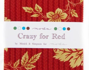 FLASH SALE Crazy for Red Charm Pack by Minick and Simpson for Moda