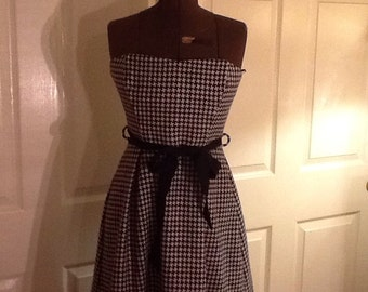 Coreylynn Calter 1950s style Dress Houndstooth strapless size 4-6 small
