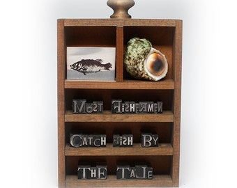 "Backwords ""Most Fisherman catch Fish by the Tale"" Type-Cuts-Art-Wood-Shadow-Box"