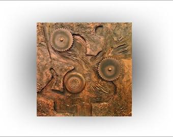 ABSTRACT 3d Impasto Heavy Texture Acrylic Metallic Copper- Copperline No.4 - 30 x 30 -Skye Taylor