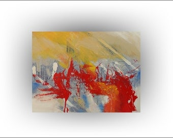 ON SALE Yellow Red Abstract Painting - 24 x 18 - Skye Taylor
