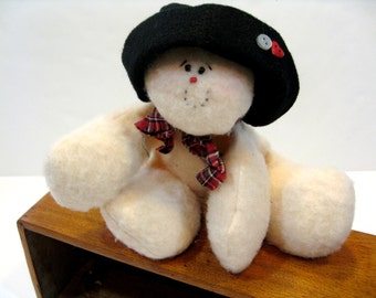 Snowman Plush Doll With Black Hat Holiday Decor  Ready to Ship  Card holder