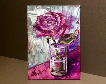 Rose painting still life original floral painting 5 x 7