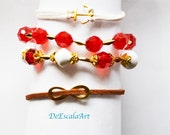 Four Fashion Bracelet, Many Colors to choose From, Infinity, Anchor, Gold or Silver Tone, Hand Made in The USA, Item No.De105
