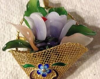 Vintage Asian Flower Basket Pin Pendant, Sterling Silver Brooch, Lapel Pin, Shawl Pin, Dress Pin, Coat Pin