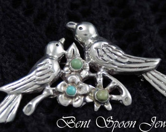 Vintage Sterling Silver Mexico Green Turquoise Bird Brooch, Coat Pin, Shawl Pin, Bent Spoon Jewelry