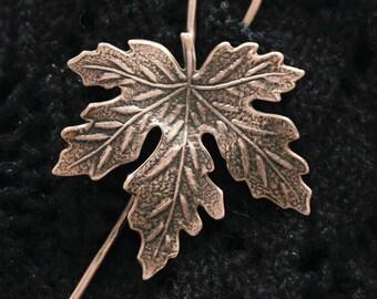 Copper Shawl Pin, Maple Leaf Shawl Pin, Fibula, Scarf Pin, Shrug Pin, Kilt Pin, BentSpoonJewelry