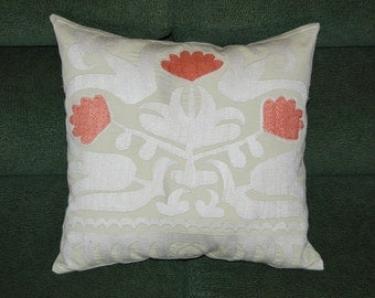 "Beautiful silk handmade vintage bleached color Samarkand Suzani  flowers pattern   embroidered  Pillow Cover 16""x 15""5"