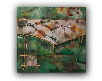 Fantasy Landscape Silk Painting Original Batik Art By Bserene