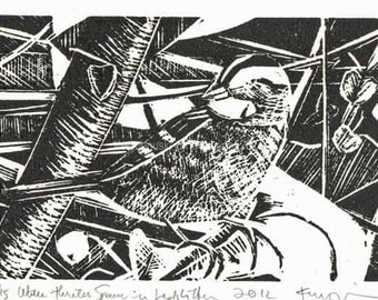 White-throated Sparrow in Leaf Litter Linocut