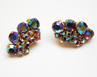 Vintage Rhinestone Earrings Red Aurora Borealis Ear Climbers