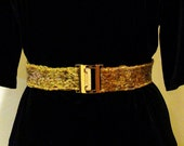 Belt - Silk  and Wool Tunisian crochet  - 1 3/4 inch wide,  fits 38  to 40 inch waist, adjustable