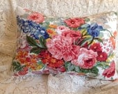 Vintage Ralph Lauren pillow cover Decorative pillow Throw pillow Gorgeous cottage garden flowers Bright colors