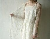 Elegant white knee length lace cardigan,robe, Valentine Day