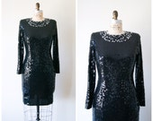 Black Sequin Dress / Vintage 80s Cocktail Party Dress with Pearl Collar / Sparkle and Shine Dress Extra Small