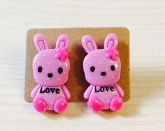 Adorable lavender bunny love earrings