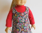 18 inch Doll Clothes Fits American Girl - Paisley Jumper and Red Turtle Neck