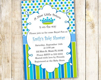 New Little Prince Baby Shower Invitation Card - Blue Polka Dots Stripes Baby Boy Shower Invite also 1st Birthday Party Invitation Custom