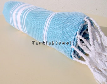 Turkishtowel-NEW Stripes, Soft-High Quality,Hand Woven,Cotton Bath,Beach,Pool,Spa,Yoga,Travel Towel or Sarong-Turquoise,White Stripes