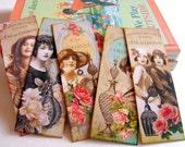 Bookmarks - Vintage French Perfume Bottles Women Girls Flowers Eau De Cologne Feminine Romantic Shabby Chic - Set Of 5 Large Paper Bookmarks