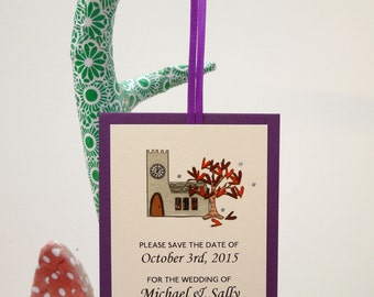English Church in Autumn Save the Date Cards