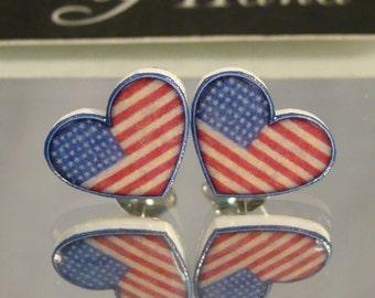 American Flag Heart Stud earrings - Stars and Stripes - I love america