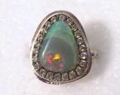 DEPOSIT  Gorgeous Solid australian Opal sterling silver ring ooak