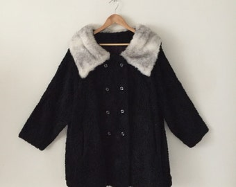 Black Faux Fur 1960s Coat L