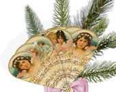 Angel decorative music Paper  fan DIY instant download