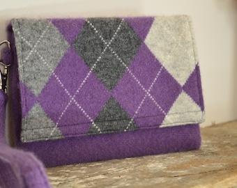 Felted Clutch Argyle Design Purple Dark Gray Light Gray