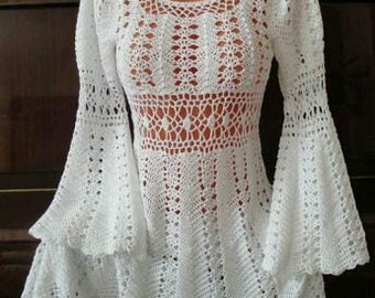 Crocheted Medieval Long Sleeve Tunic/Dress - MADE to ORDER