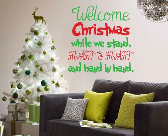 Merry Christmas Quote Wall Art Decal: Welcome Christmas Quote Wall Decal Kids Bedroom Living By