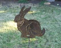 Rabbit Bunny garden stake Metal yard art stake great x-mas gift design  #2