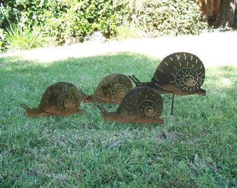 Metal snail  family garden stake set unique mothers day gift