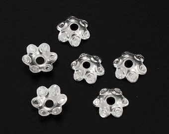 40 of 925 Sterling Silver Dotted Bead Caps 5.5 mm. :th0107