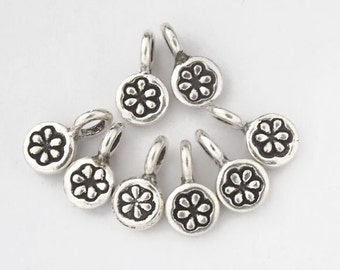 8 of Karen Hill Tribe Silver Daisy Imprint Charms 5 mm. :ka1740