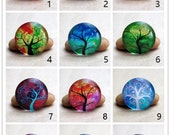 10 pcs Magic Tree Painting Cabs Collage 0571 - Round 8mm 10mm 12mm 14mm 16mm 18mm 20mm 25mm 30mm Photo Glass Cabochon Flat Back Beads