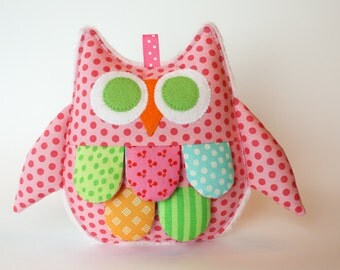 Owl Baby Sensory Crinkle Toy - Pink Polka Dot print with Pink Minky backing