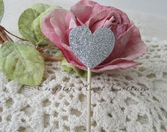 24 Silver Glitter Heart Cupcake Toppers, Double Sided, Wedding, Birthday, Cottage Chic