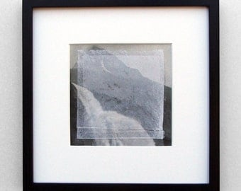 Emperor Falls (with Suprematist addition) - original framed collage mixed media waterfall