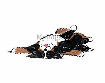 """Whimsical Bernerse Mountain Dog """"I'm DONE"""" print 5x7"""