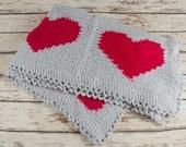 Vintage Baby Blanket Handmade Crochet  - Hearts Pink Red Gray - B6